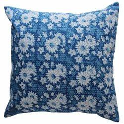 Floral Hand Block Print Blue Cushion Cover