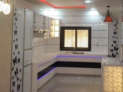 Black & White Acrylic Solid Surface Kitchen