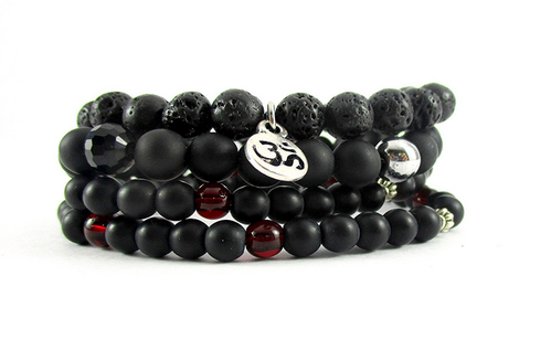 Om Black 8 Mm 6 Bead Bracelets For