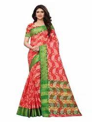 Orange Colored Poly Silk Jacquard Casual Wear Saree