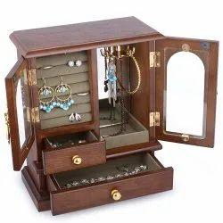 Square Brown Designer Wooden Jewelry Box, Size: 12x18 Inch