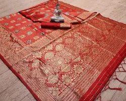 Designer Banarasi Jacquard Saree With Blouse