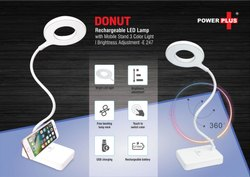 Donut Rechargeable LED Lamp With Mobile Stand 3 Color Light Brightness Adjustment