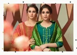Silk Embroidered Kessi Fabrics Stitched Dress Material Suit