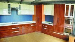 L Shape Classic Wooden Modular Kitchen