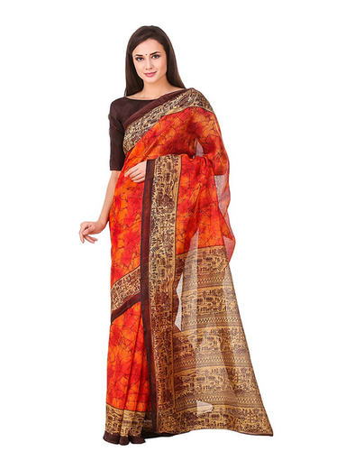dc1498091 Party Wear Women Poly Cotton In Printed Design Saree