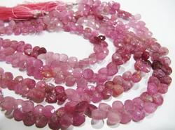 Natural Pink Ruby Heart Shape Faceted Beads .
