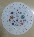 White Marble Round Inlay Decorative Plate