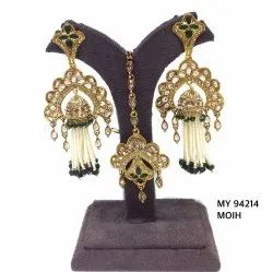Ladies Ethnic Pearl Golden Earring Tika Set MY 94211, MY 94212, MY 94213, MY 94214