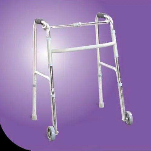 64efa04b8 Silver Aluminium Classic Walker With Castors