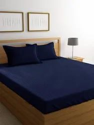 Cotton Satin Plain Bed Sheet Double 90x100 Inches Royal Blue