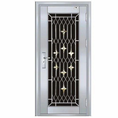 Silver Single Steel Door Sameer Steel Design Id 14582197048
