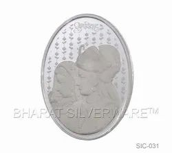 Pure Silver Oval Bride & Groom Coin