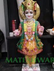 Polished Marble Swaminarayan Statue