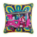 Gulabi Auto Rickshaw Glaze Cotton Cushion Cover