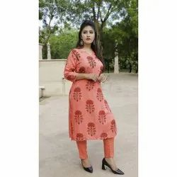 3/4th Sleeves Ladies Kurti with Pant