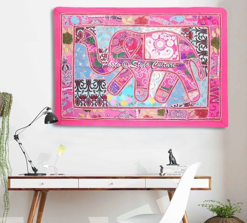 Stylo Culture Length-40 x Width-60 Elephant Embroidered Patchwork Wall Hanging