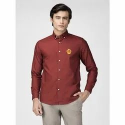 Green Hill Men's Solid Casual Rust Oxford Shirt