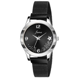 Jainx Black Magnet Mesh Chain Analog Watch For Women And Girls - JW651