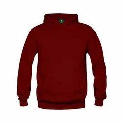Woolen Maroon Color Custom Hoodie