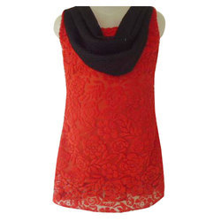 Sleeveless Red And Black Girls Designer Top