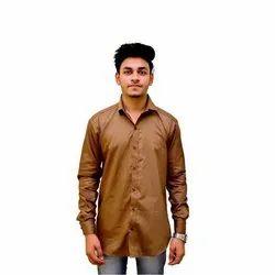 Biasons Cotton Mens Brown Plain Shirt