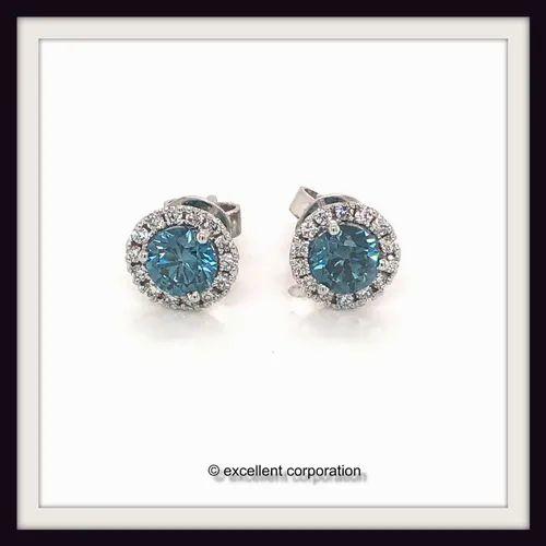 91c2e1308af3b Cvd Blue Diamonds Earrings 1.21ct 1.20ct Vs1 Vs2 Igi Certified 14k White  Gold