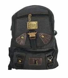 Side Lock Black School Bag