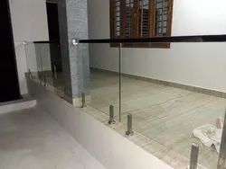 Steel Ss 304 Slotted Pipe Glass Handrail, For Home
