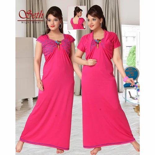 Ladies Half Sleeves Pink Nighty 42fdb1ac2