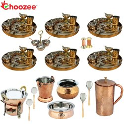 Choozee - Set of 6, Stainless Steel Copper Thali Set with Serveware & Hammered Copper Jug (85 Pcs)