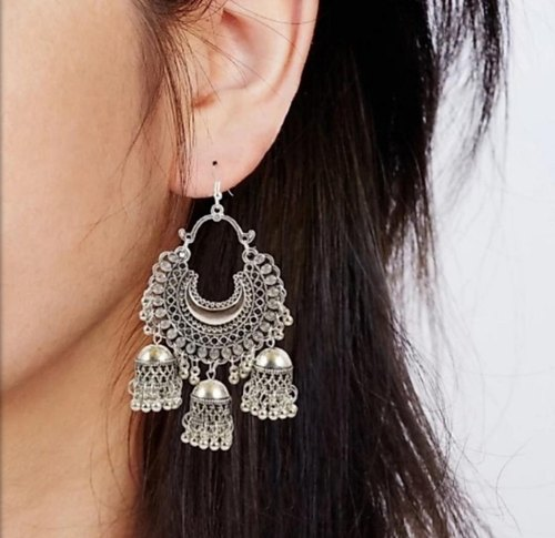 Ethinic Silver Oxidized Circular Jhumki with Hanging Jhumar Indian Traditional Jewellery for Stylish Women and Girls by SP Jewels