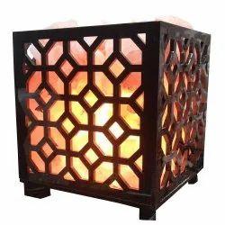 Square wooden salt lamp