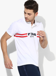 White Graphic Regular Fit Polo T-Shirt
