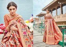 5.5 m (separate blouse piece) Festive Wear Handloom Cotton Sarees, With Blouse Piece