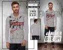 Grey Designer V Neck Full Sleeve Cap T Shirt