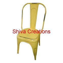 Shiva Creations Polished Metal Tolix Chair for Restaurant