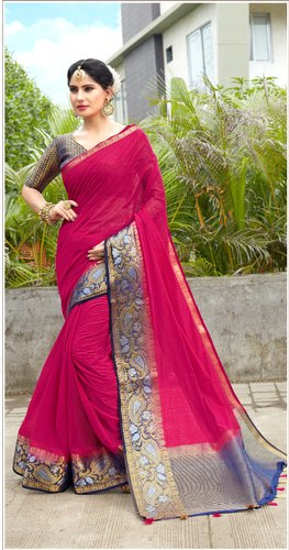 Linen Cotton Traditional Party wear Woven Sarees, Length: 6.3 m