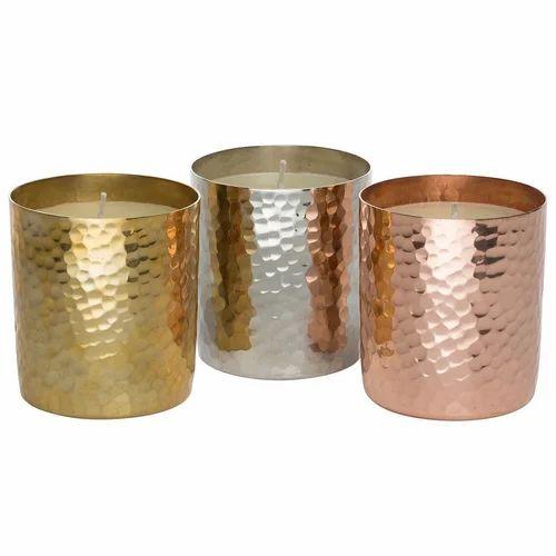 Brand new Hammered Copper Candle Jar With Lid - Metal Design Inc, Moradabad  AF62