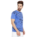 Men Spray Printed Blue T-Shirt