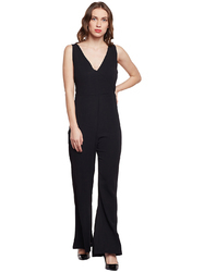 028dacfac597 Beautiful Designer Bubble Crepe Black Flared Jumpsuit