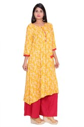 Yellow and Red Long A Line Kurta