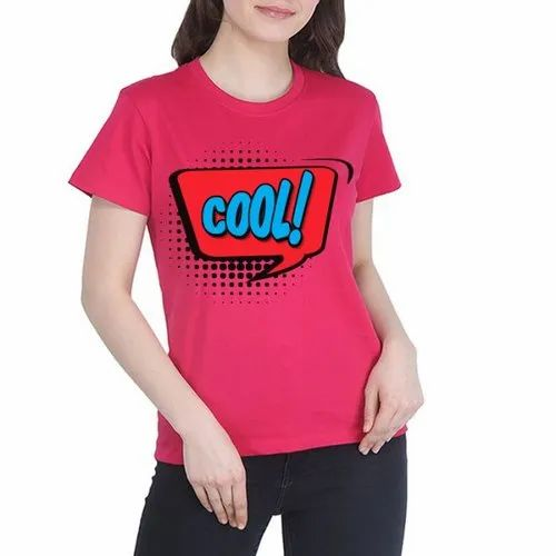 Base Pink Half Sleeve Ladies Casual Wear T- Shirt, Size: S