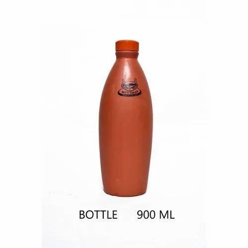 Brown Clay Water Bottle, Capacity: 900ML