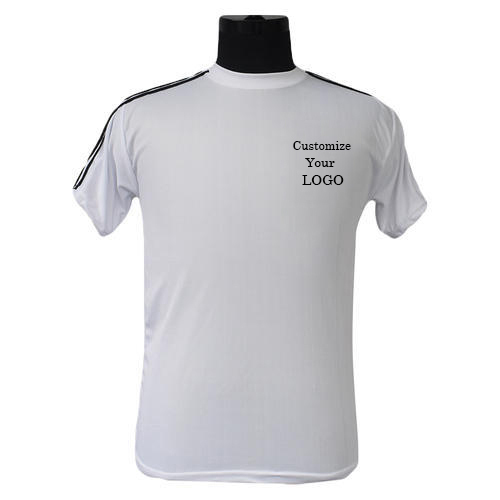 Micro Ployester Round neck with stripes White Sports T-Shirt
