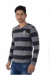 Cotton Striped Men Full Sleeve T Shirt