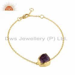 Amethyst Gemstone New Design Gold Plated Silver Chain Bracelet
