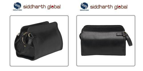 Black Leather Toiletry Bag, Yes