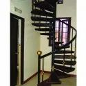 Polished Cast Iron Spiral Staircase, For Bungalow