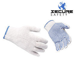 White, Gray Cotton Dotted Hand Gloves